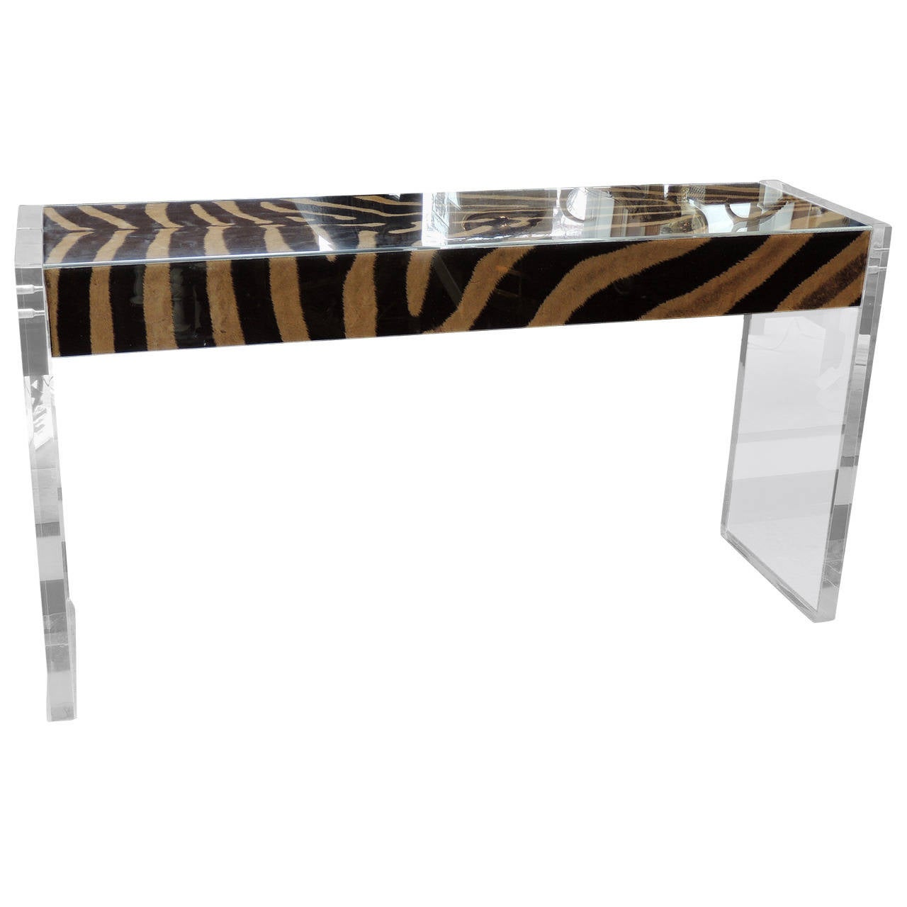 Lucite Console Table With Zebra Hide At 1stdibs