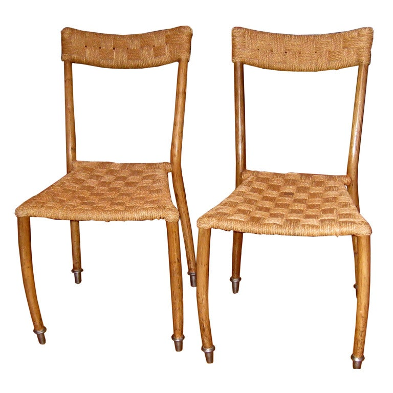 Pair of Woven Rope Side Chairs Attributed to Ico Parisi