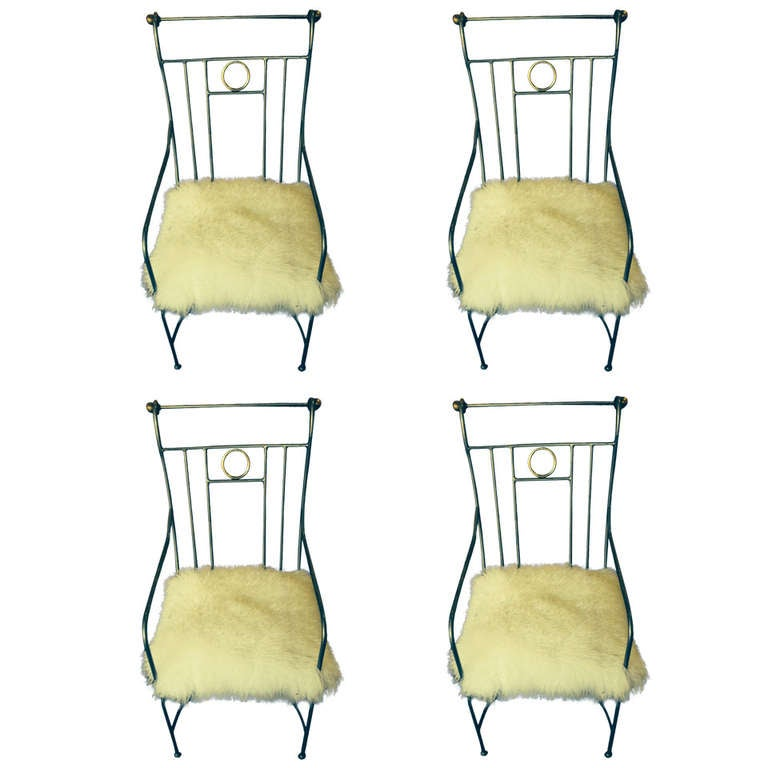Set Of Four Iron And Brass Armchairs At 1stdibs