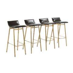 Brass Gachot Bar Stool by Thomas Hayes Studio