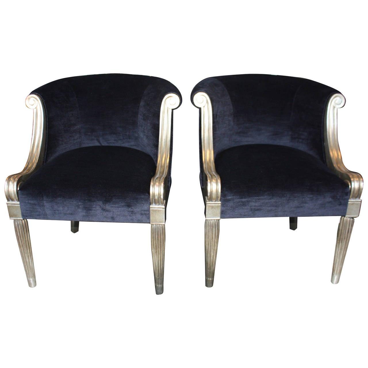 Pair Of Sally Sirkin Lewis Silver Leaf Chairs 1