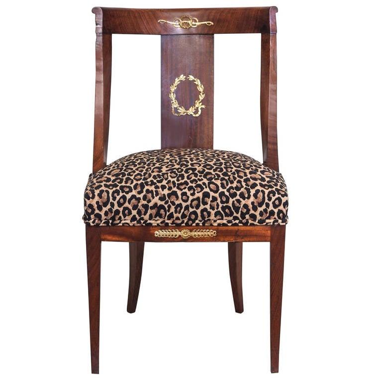 19th Century Second Empire Walnut Chair With Original Bronze Ormolu For