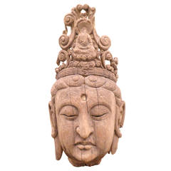 Large Carved Wood Head of a Guan Yin, China Ming Dynasty, 1368-1644