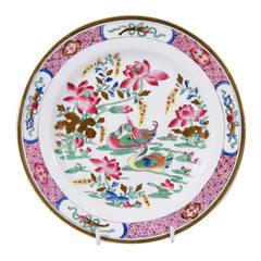 "Antique Porcelain Dessert Service in the Spode ""Pink Ducks"" Pattern"