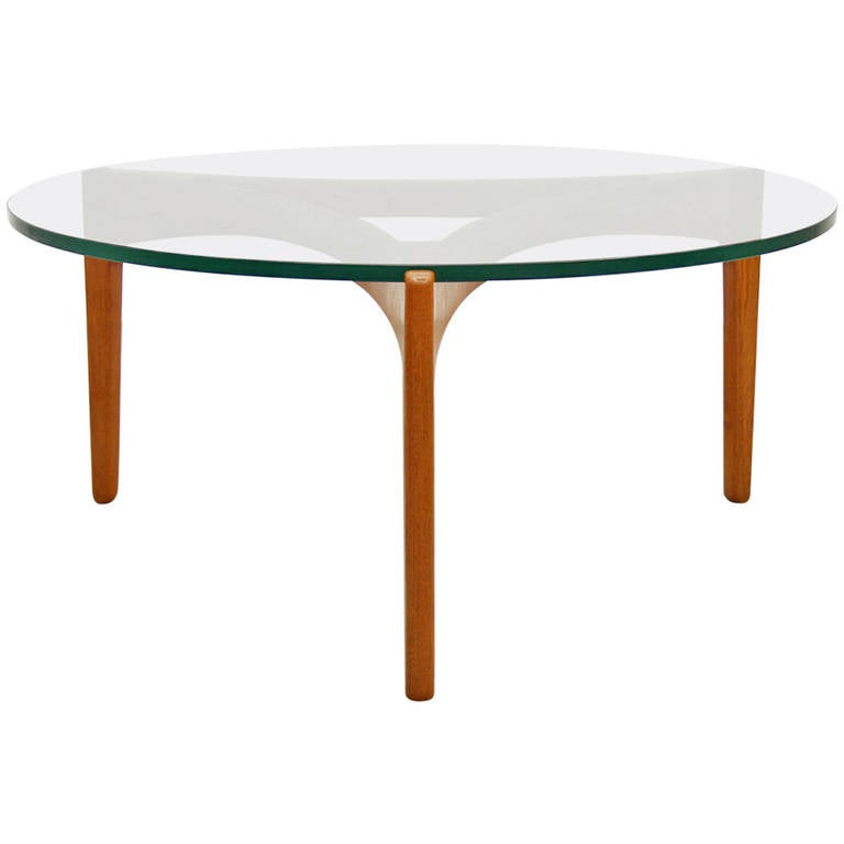 Elegant Glass And Metal Coffee Table: Elegant Teak And Glass Coffee Table By Sven Ellekaer At