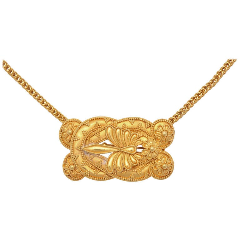 Granulated Yellow Gold Pin on Hand-Made Chain in Hellenistic Style