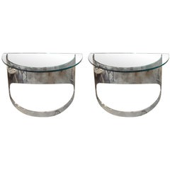 Pair of Polished Steel Console Tables by Paul Jones