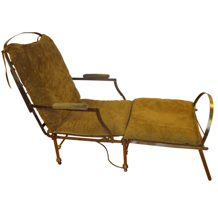 Brushed steel and brass chaise lounge by victoria for Art nouveau chaise lounge