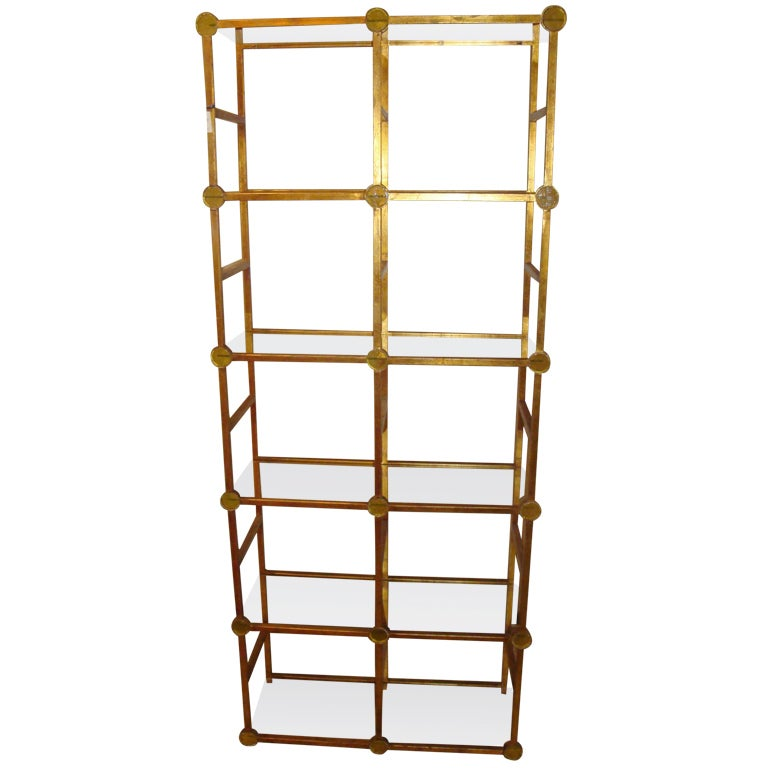 gold leaf metal etagere at 1stdibs. Black Bedroom Furniture Sets. Home Design Ideas