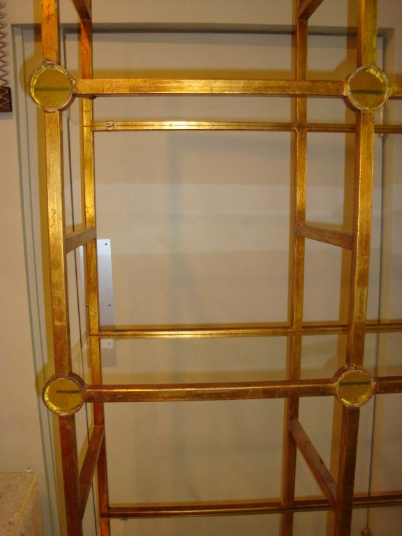 Gold Leaf Metal Etagere At 1stdibs