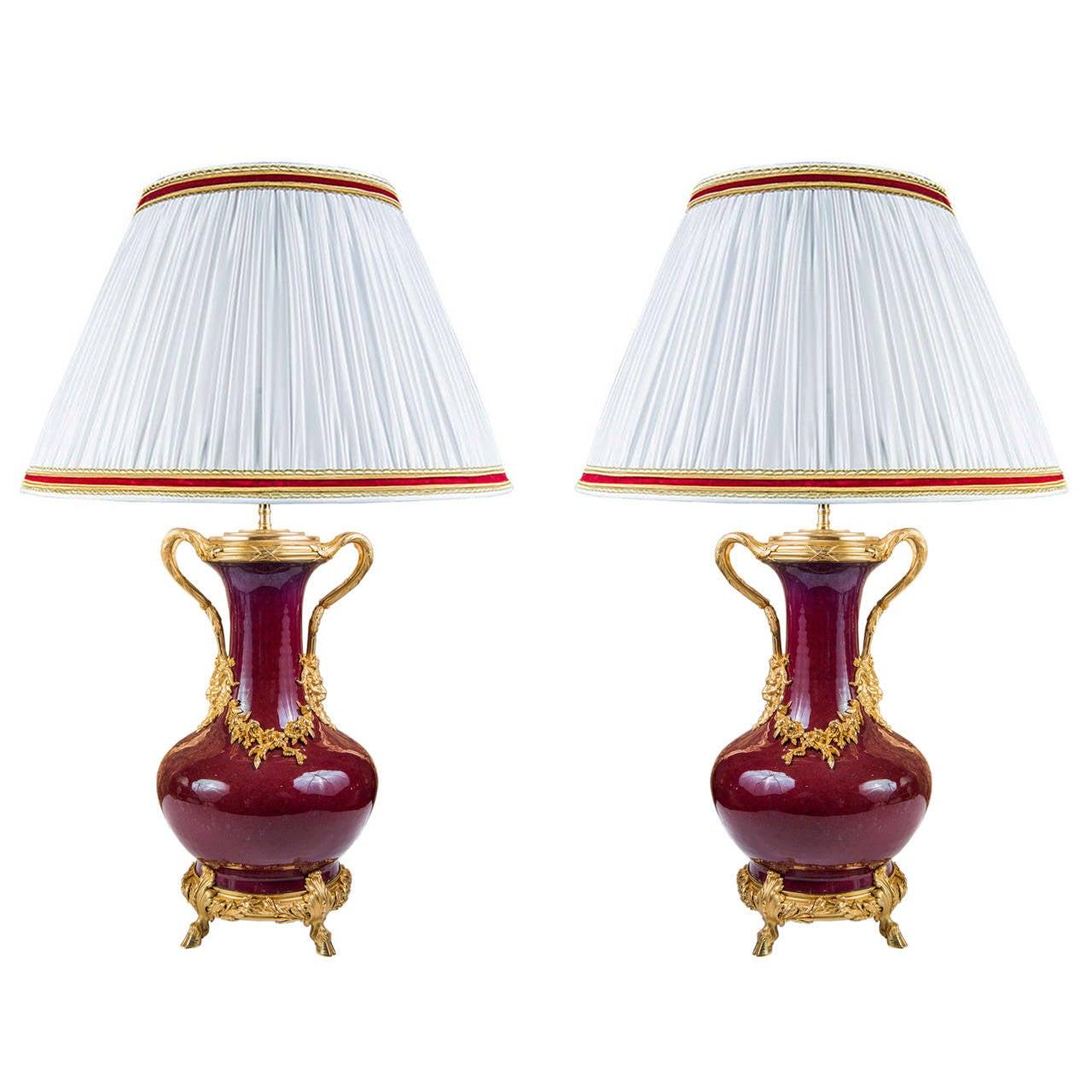 "Very Rare Pair of ""Sang De Boeuf"" Table Lamps"