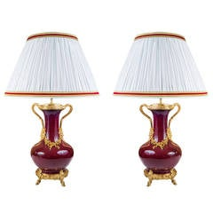 "Very Rare Pair of ""Sang De Boeuf"" Table Lamps"