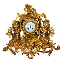 Gorgeous Gilded Bronze Mantel Clock