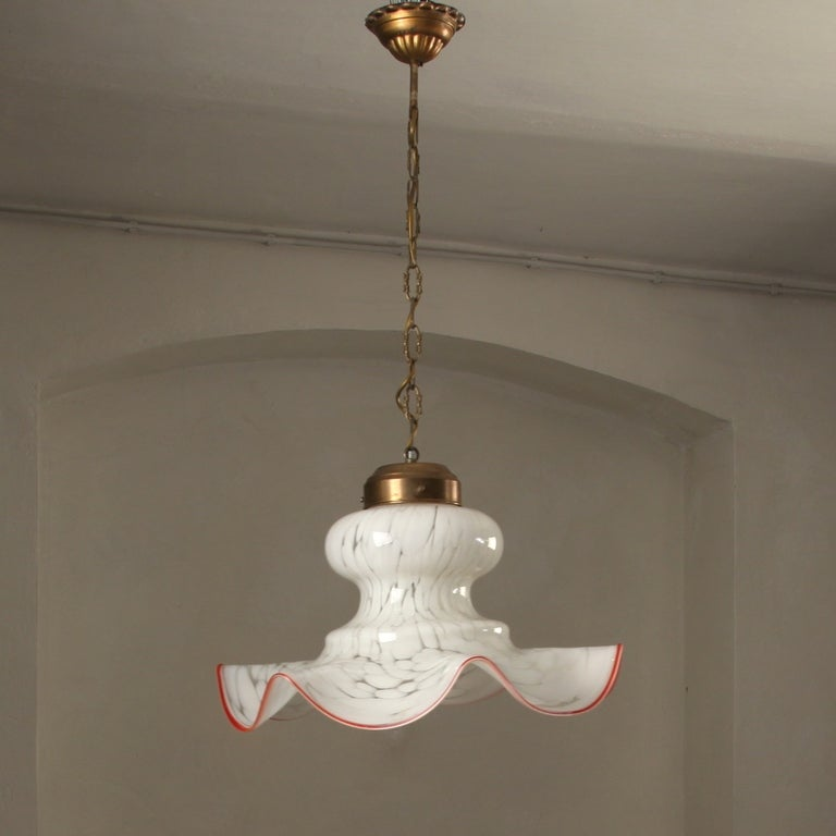 1970 39 S Murano Hand Blown Glass And Brass Ceiling Lamp At