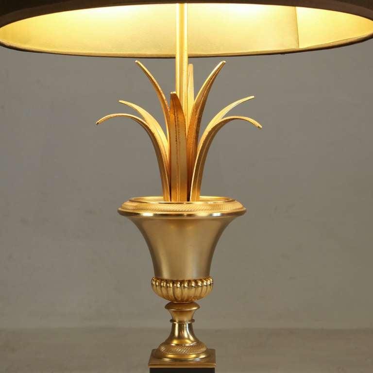 high end maison charles bronze palm motif lamp at 1stdibs. Black Bedroom Furniture Sets. Home Design Ideas