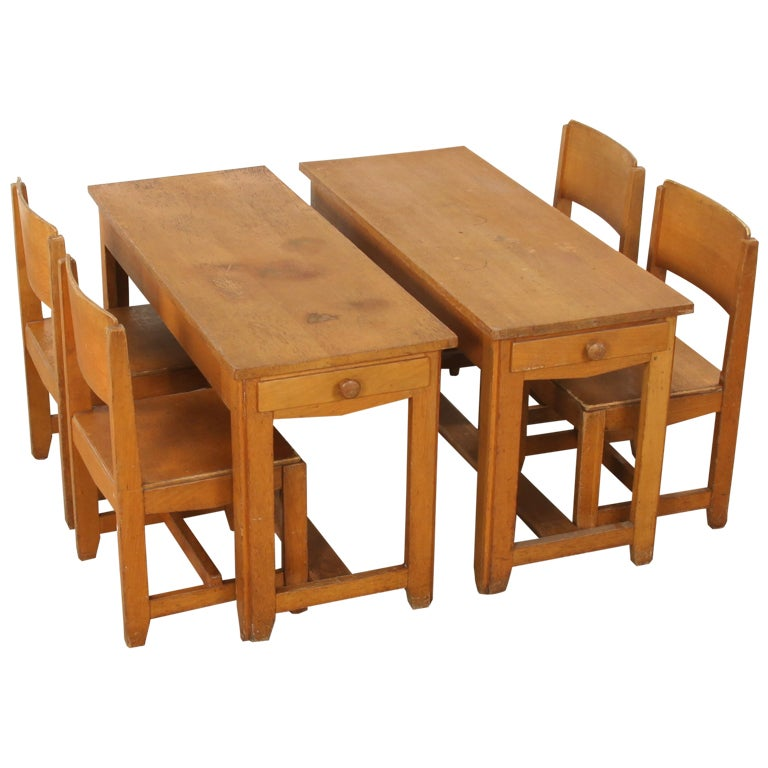 Very Rare Pre War 1930 Child S Desk And Chairs By Dox