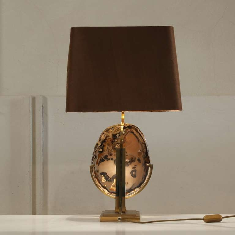 high end willy daro amethyst crystal lamp mounted on brass base image. Black Bedroom Furniture Sets. Home Design Ideas