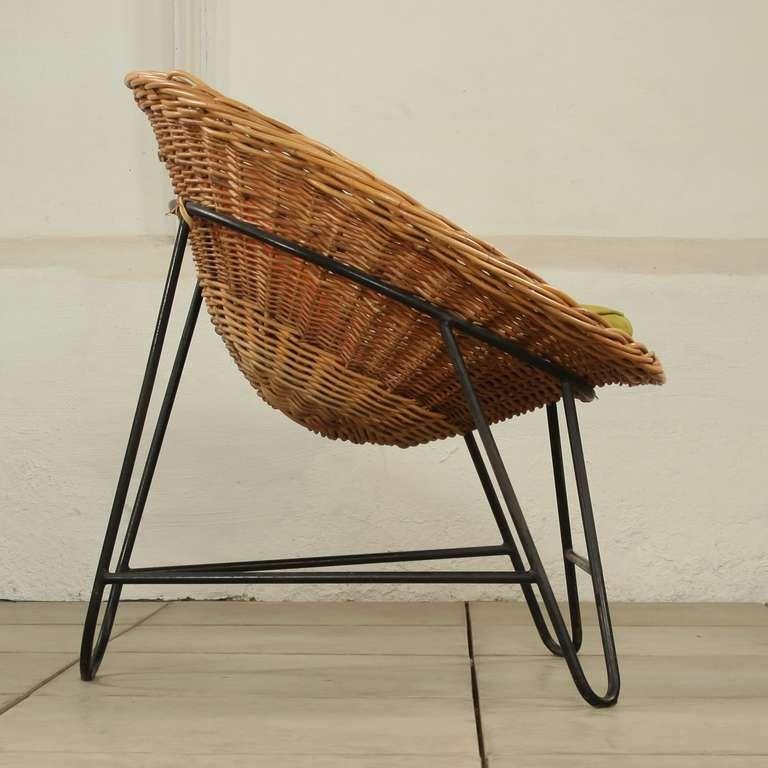 1950 S Woven Wicker Cone Basket Lounge Chair Itm Mat 233 Got