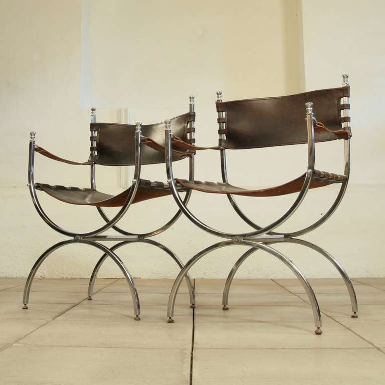 Set If 2 Campaign Chairs Maison Jansen In Thick Saddlelather At 1stdibs