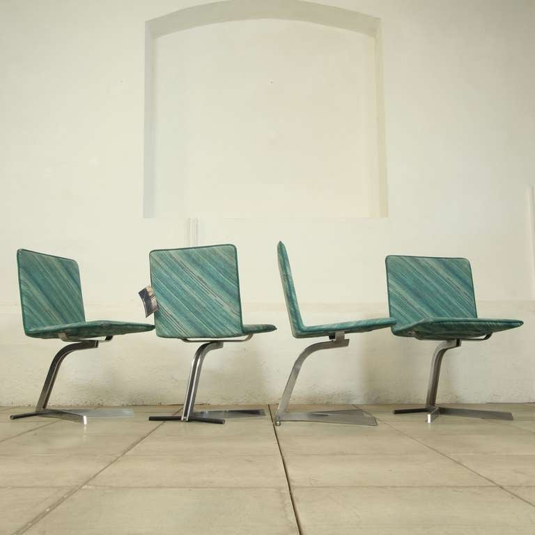 Missoni Fabric Covered Bergere Chair: Rare Set Of 4 Dining Chairs Saporetti With Missoni Fabric
