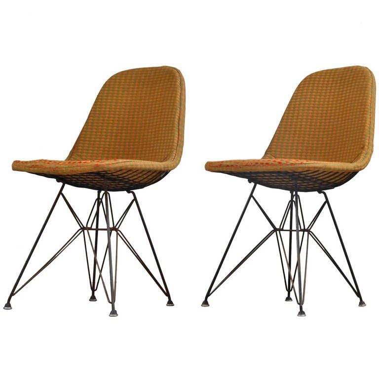 Early Eames DKR wire chairs with Girard fabric at 1stdibs