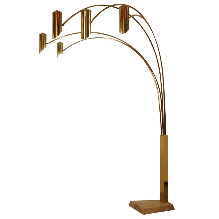 xl regency impressive brass 39 arc 39 floorlamp at 1stdibs. Black Bedroom Furniture Sets. Home Design Ideas