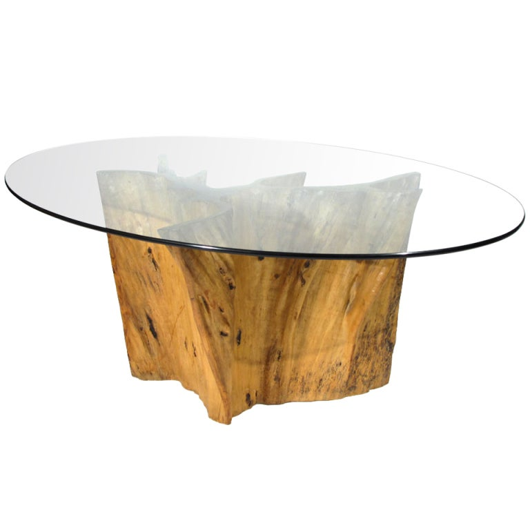 Michael taylor dining table at 1stdibs for Tree trunk dining table