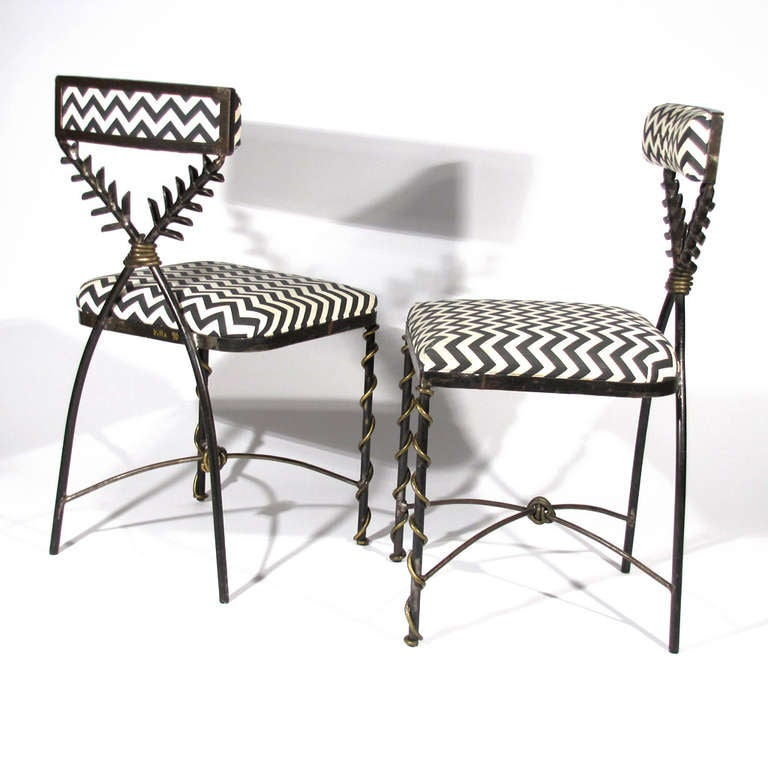 Italian Steel And Brass Chairs At 1stdibs