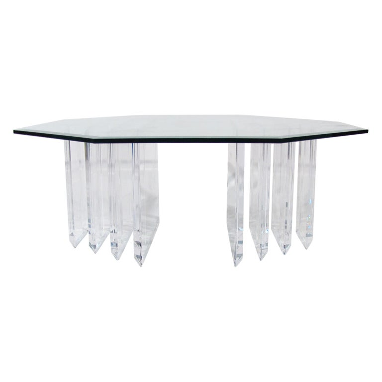 Lucite Octagonal Cocktail Table At 1stdibs