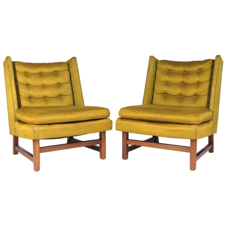 Pair of edward wormley style wingback chairs at 1stdibs - Edward wormley chairs ...