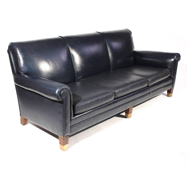 Classic Navy Blue Leather Sofa At 1stdibs