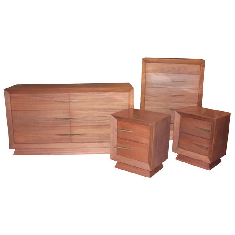 Vintage Art Deco Style Mahogany Dresser Set At 1stdibs