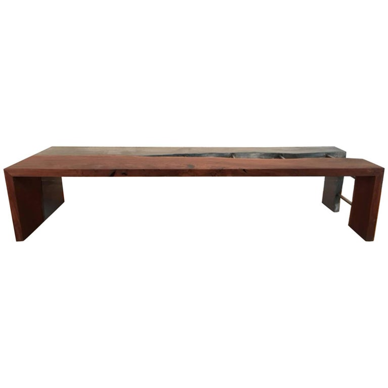 Concrete, Steel and Wood Bench
