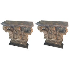 Spectacular Pair of Antique Carved Wood French Consoles
