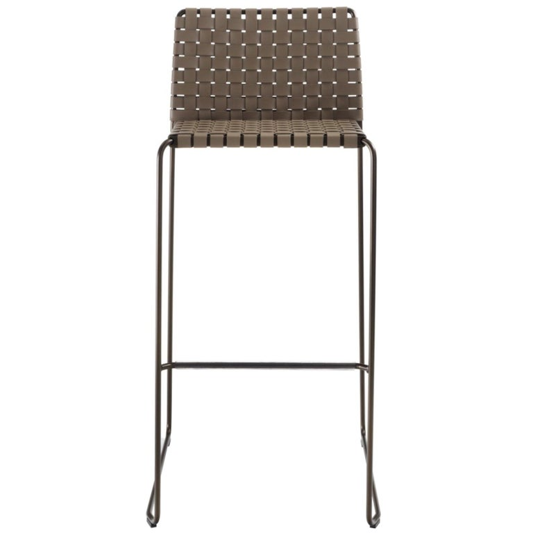 Bar Or Counter Stool Italian Made Modern Design Woven Leather And Painted Legs For