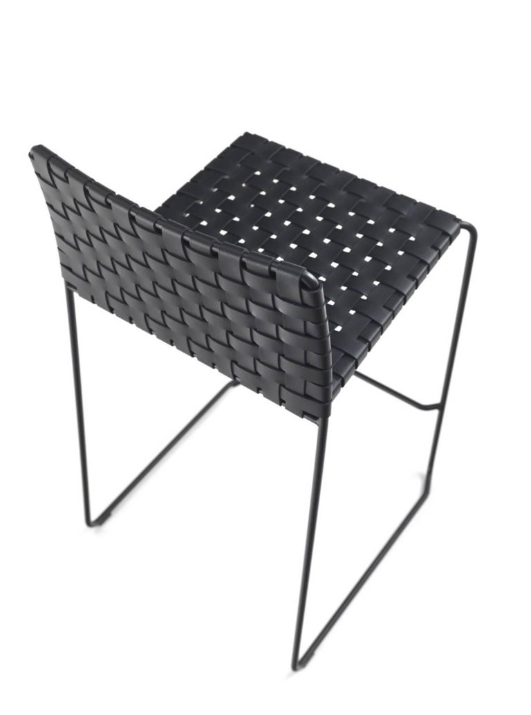 Bar or Counter Stool Italian Made Modern Design Woven Leather and Painted Legs In New Condition For Sale In Jersey City, NJ