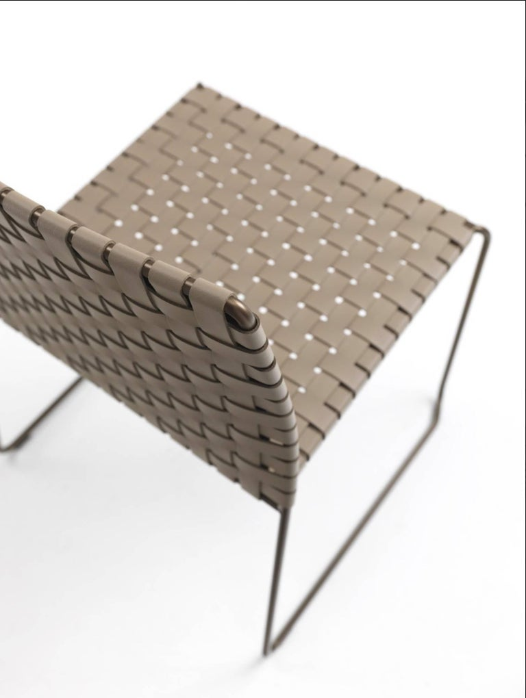 Contemporary Bar or Counter Stool Italian Made Modern Design Woven Leather and Painted Legs For Sale
