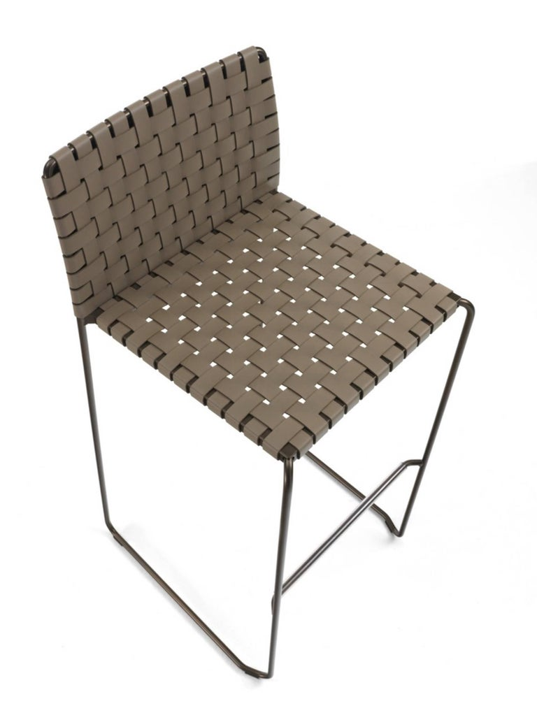 Steel Bar or Counter Stool Italian Made Modern Design Woven Leather and Painted Legs For Sale