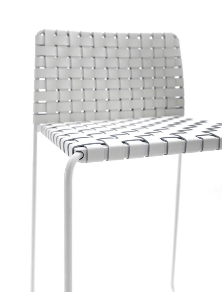 Bar or Counter Stool Italian Made Modern Design Woven Leather and Painted Legs For Sale 1