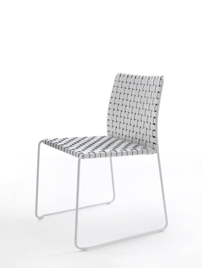 Bar or Counter Stool Italian Made Modern Design Woven Leather and Painted Legs For Sale 2