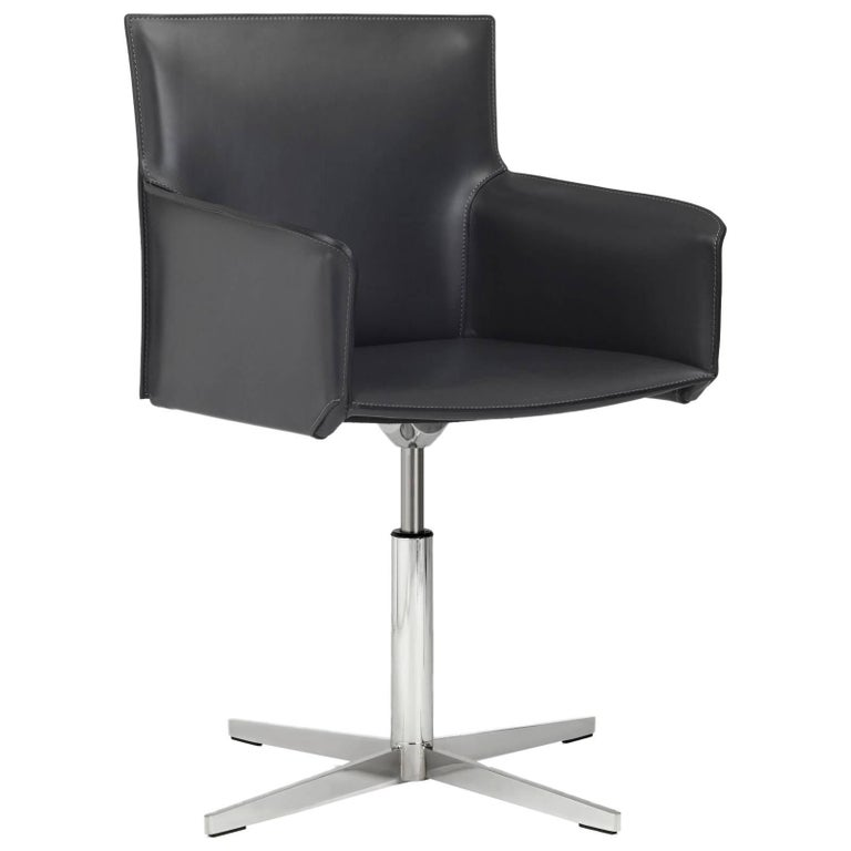 Italian Executive Armchairs with Leather Seat and Swivel Base, Chrome Edition For Sale