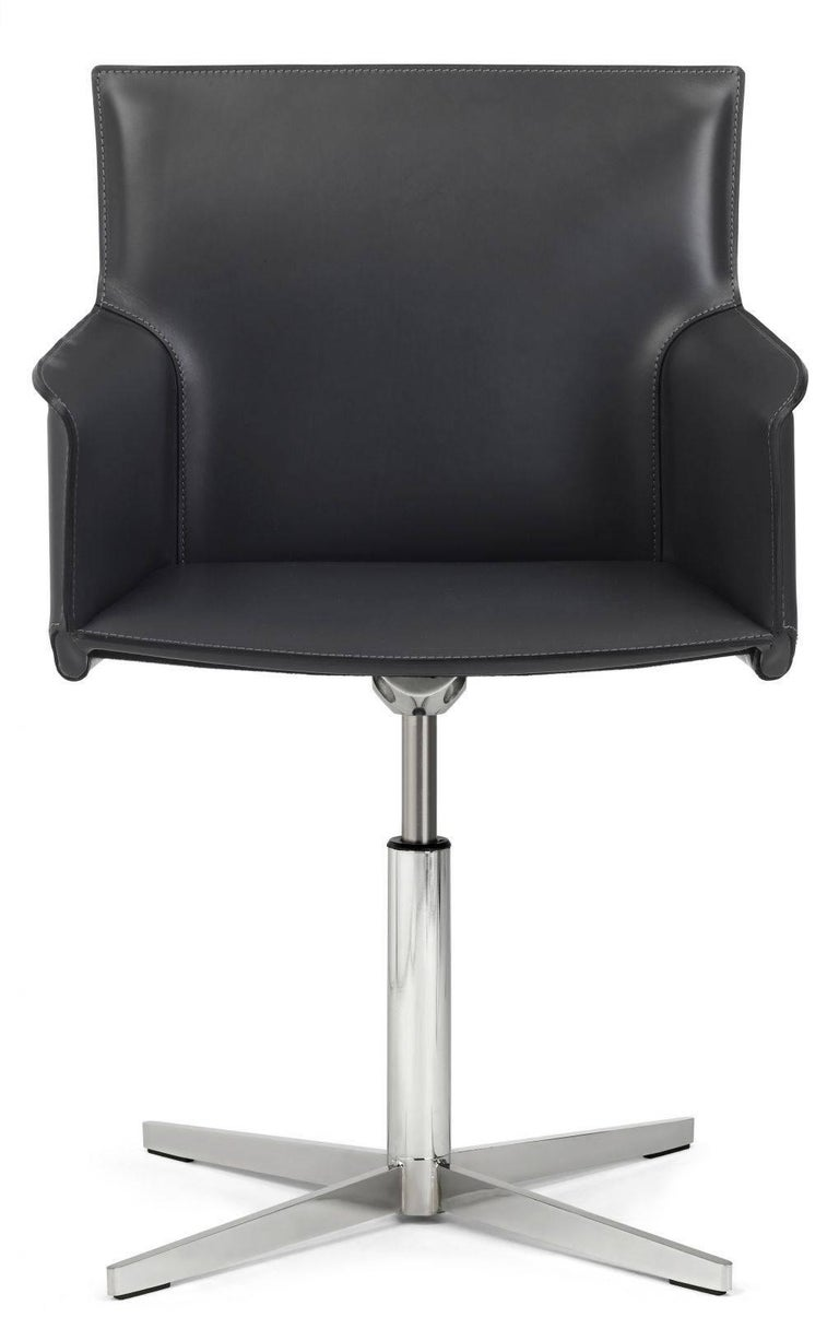 Modern Italian Executive Armchairs with Leather Seat and Swivel Base, Chrome Edition For Sale