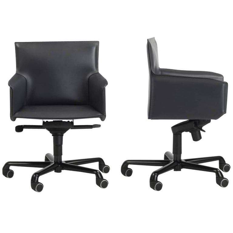 Modern Italian Office President Arm Chairs On Castors Swivel Base Leather Seat