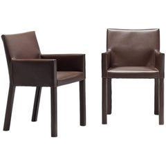Italian Modern Dining Armchairs Fully Covered with Leather Contemporary Design
