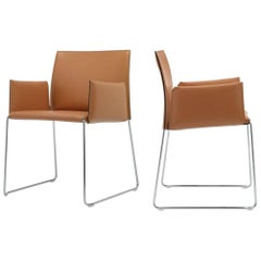 Italian Modern Leather Armchairs with Leather Covered Seat and Chrome Legs