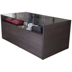 Italian Modern Chest of Drawers Two-Faced Wood and Glass Top