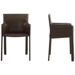Modern Italian Leather Arm Chair Fully Covered with Leather