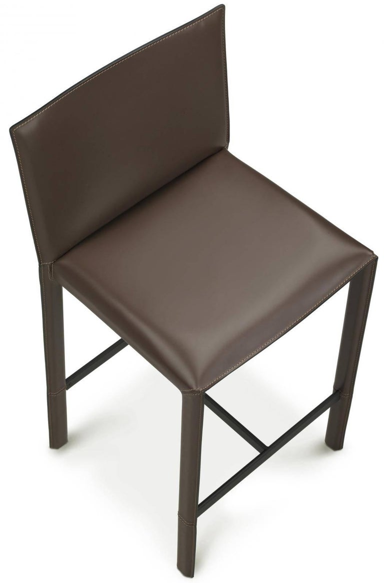 Made In Italy Leather Luxury Contemporary Furniture Set: Italian Designer Bar Stool Fully Covered With Leather, New