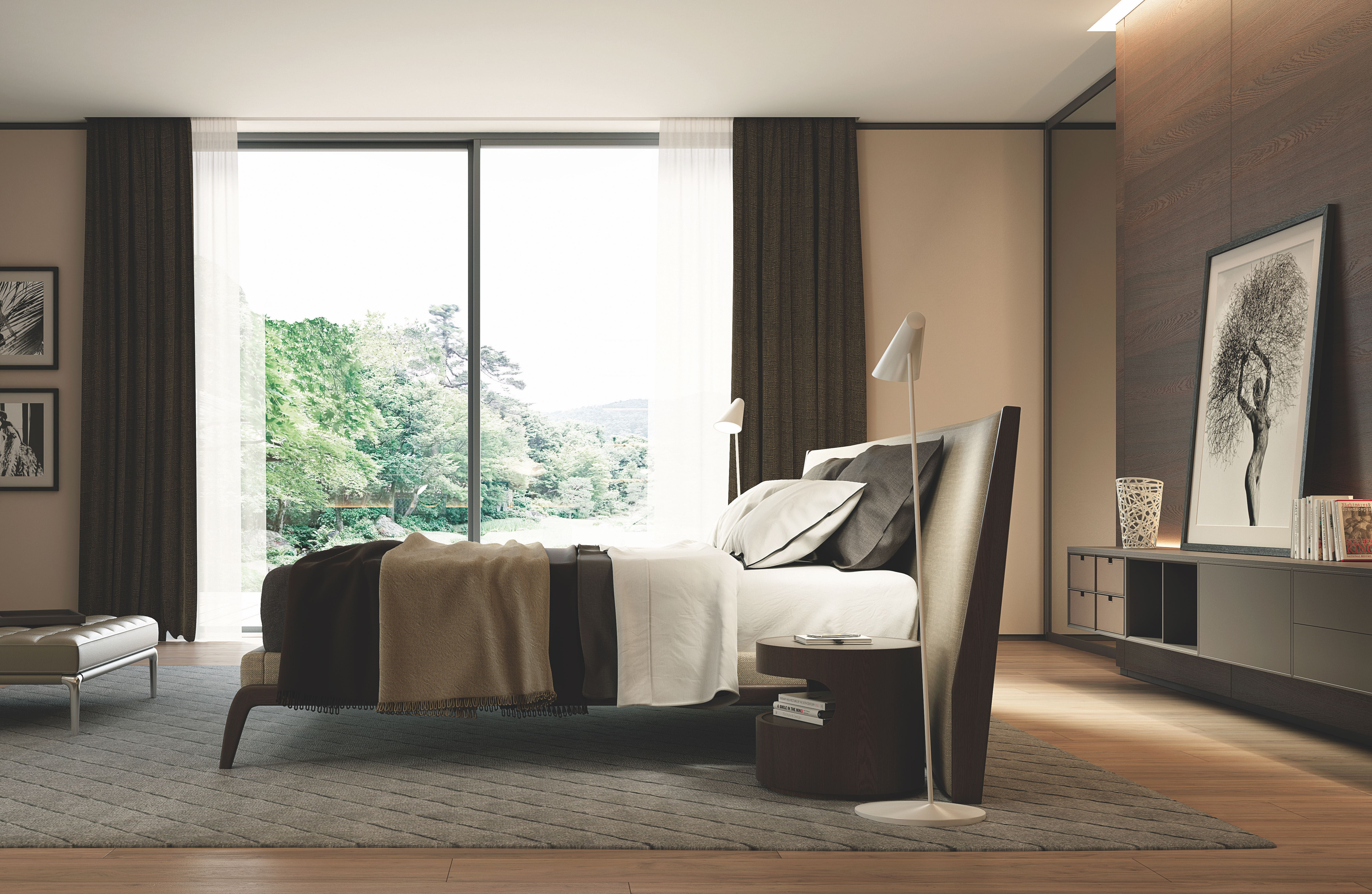 Modern Italian Bedroom set includes bed and two night tables, wood and  fabric
