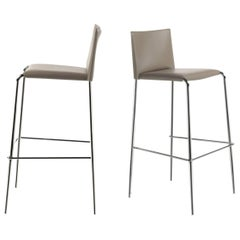 Italian Modern Bar Stools Leather and Chrome or Painted Black or White